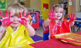 Fingerpainting at preschool